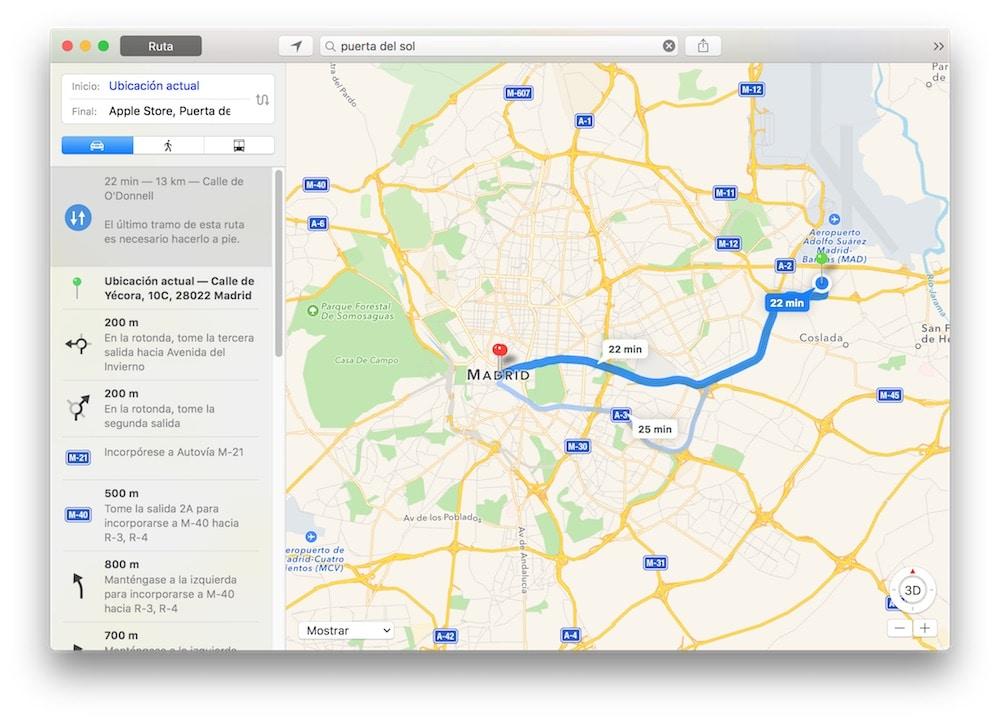 Ruta en Mapas OS X
