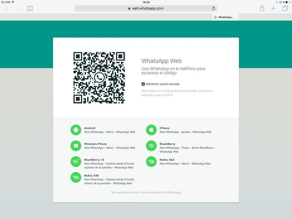 Whatsapp para iPad QR web