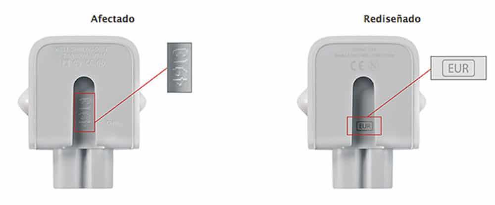 Apple sustitución adaptador corriente