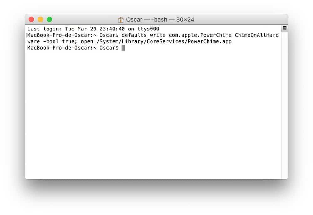 Activar sonido al cargar en Mac OS X