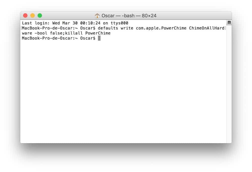 Desactivar sonido al cargar en Mac OS X